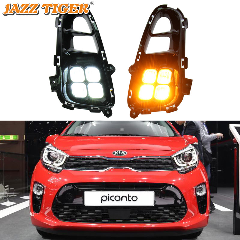 LED Daytime Running Light For Kia Picanto 2017 2018 2019 2020 Fog Lamp DRL with Turn signal Functions Daylight