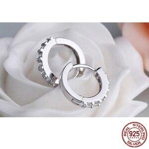 Женские круглые серьги LByzHan, ювелирные изделия из 100% настоящего серебра 925 пробы с кристаллами, подарок для свадьбы, вечеринки, помолвки, E024