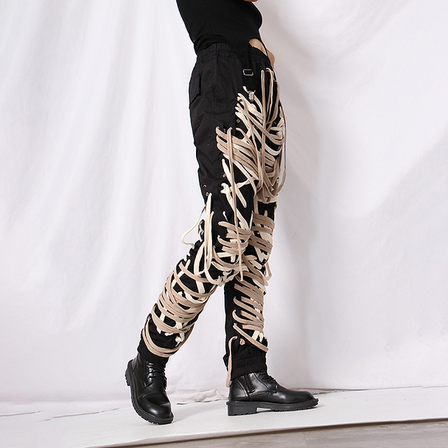 TWOTWINSTYLE Cross Bandage  Pants For Women High Waist Full Length Plus Size Casual Black Trousers Female 2020 Autumn New Style 3