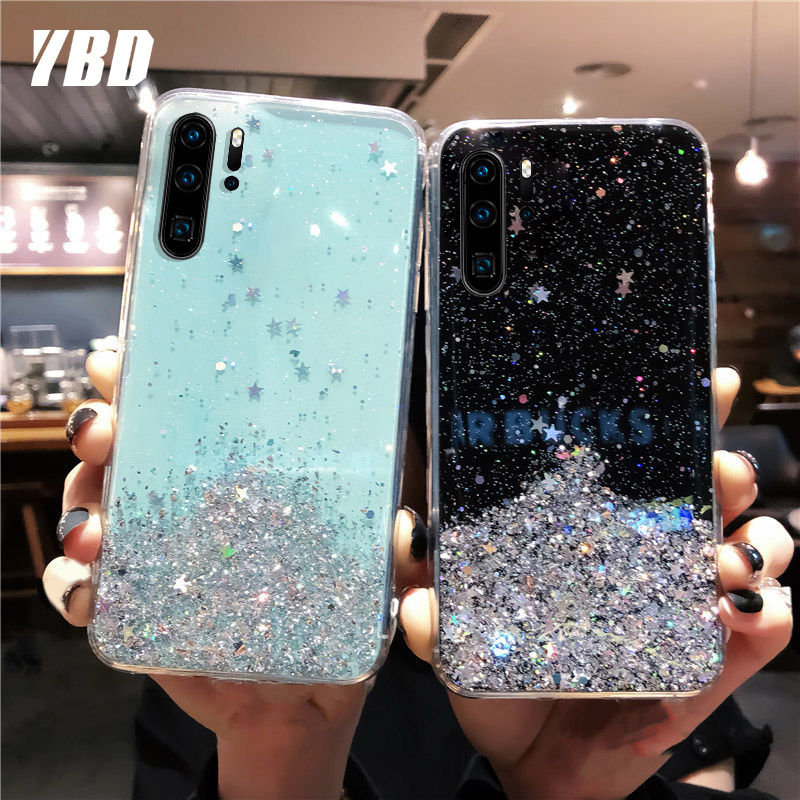 YBD Soft Starry Glitter <font><b>Case</b></font> for <font><b>Honor</b></font> 10 9 8 lite 8X 9X 9i 10i 20 <font><b>20i</b></font> 8A <font><b>Case</b></font> Cover Funda Coque for <font><b>honor</b></font> V10 V9 V20 7X play image