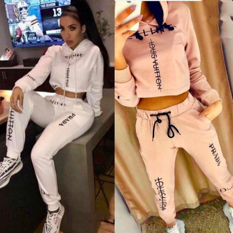 Womens 2 Piece Sets 2019 Fashion Cotton Full HighStreet Pullover Sweatsuit White Letter Sports Tracksuit for Women Clothing Sets