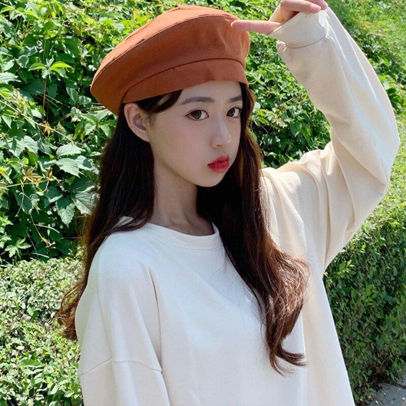 HT2586 Berets Women Spring Summer Beret Hat Ladies Solid Plain Vintage for Casual Artist Painter