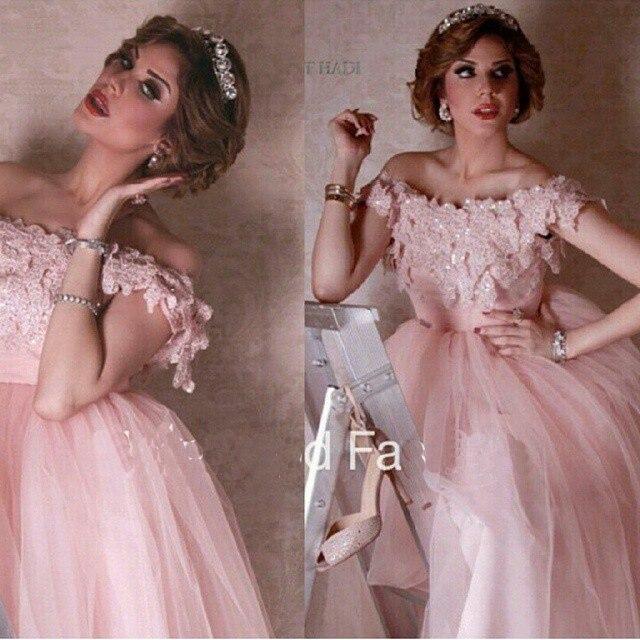Vestido De Festa 2018 Sexy Off The Shoulder Boat Neck Appliqued Lace Robe De Soiree Ball Gown Prom Party Bridesmaid Dresses