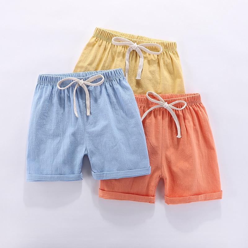 Шорты для мальчиков, детские шорты, летние пляжные свободные шорты карамельных цветов для девочек, повседневные штаны из хлопка и льна для д...