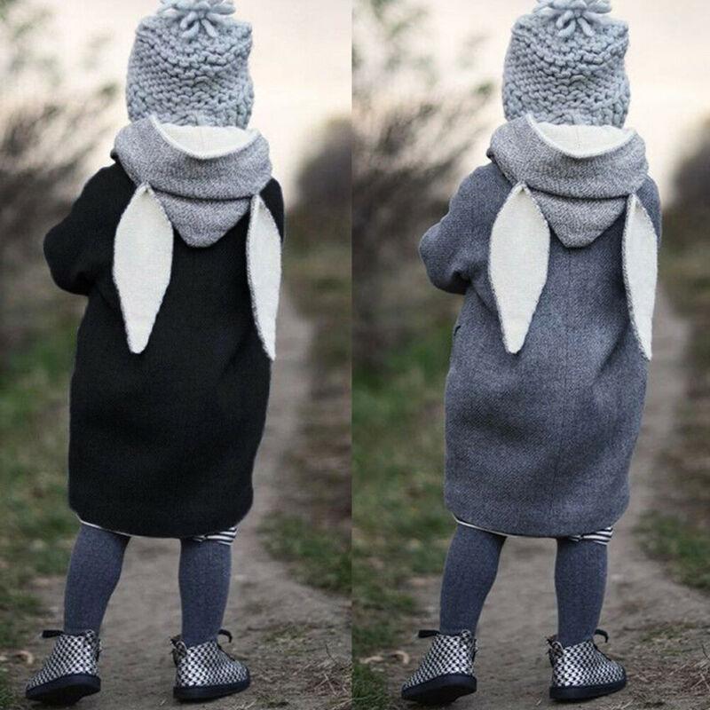 Toddler Kid Girls Cute Rabbit Ear Hooded Coat Warm Jacket Outwear Windbreaker
