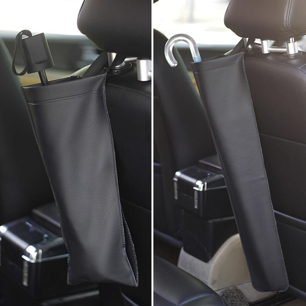 Uniwersalny parasol samochodowy torba skórzana składany samochód oparcie fotela samochodowego wodoodporny parasol do przechowywania organizator pokrywa Case akcesoria samochodowe