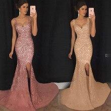 Robe de soriee новые золотые вечерние платья с пайетками Русалка v-образный вырез элегантные женские вечерние длинные платья Abendkleider дешево