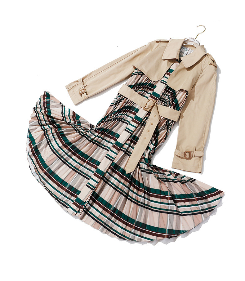 [EAM] Women Belt Pleated Hit Color Trench New Lapel Long Sleeve Loose Fit Windbreaker Fashion Tide Autumn Winter 19 1B096 22
