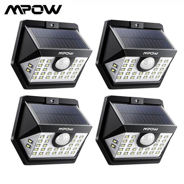 MPOW 30 LED พลังงานแสงอาทิตย์ Motion Sensor โคมไฟกลางแจ้ง 3 โหมด 270 มุมกว้าง Luz พลังงานแสงอาทิตย์ LED Para ภายนอก