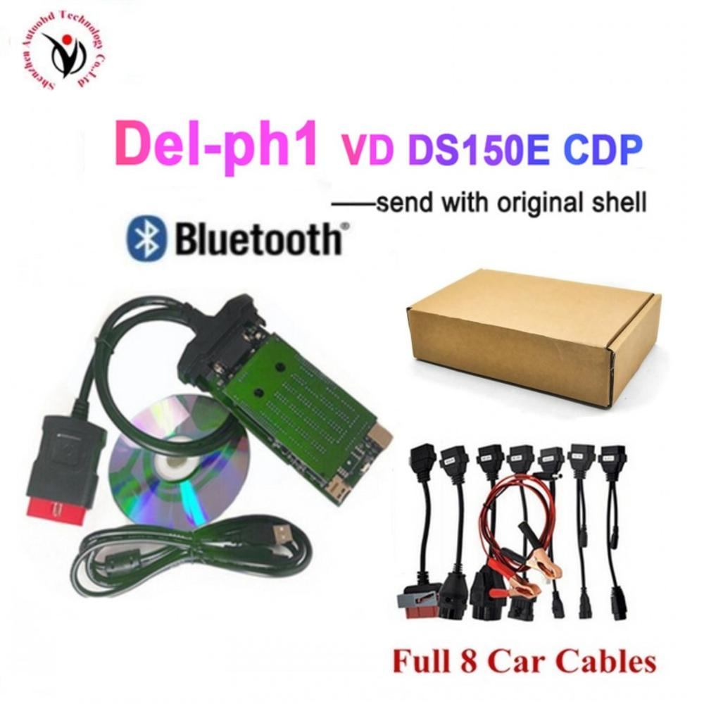 Best quality <font><b>vd</b></font> <font><b>ds150e</b></font> cdp pro with bluetooth 2015.R3 Keygen/2016.R0 new keygen optional for delphis obd2 scanner+8 car cables image