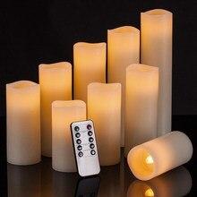 9 velas eletrônicas flameless do diodo emissor de luz do piscamento macio da vela dos pces com 10 controle remoto chave