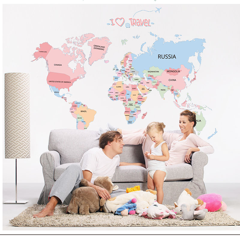 Wall Stickers World Map Decor Sticker Wall Decals for Kids Rooms Educational Children Map Classroom Letter Colorful Baby image