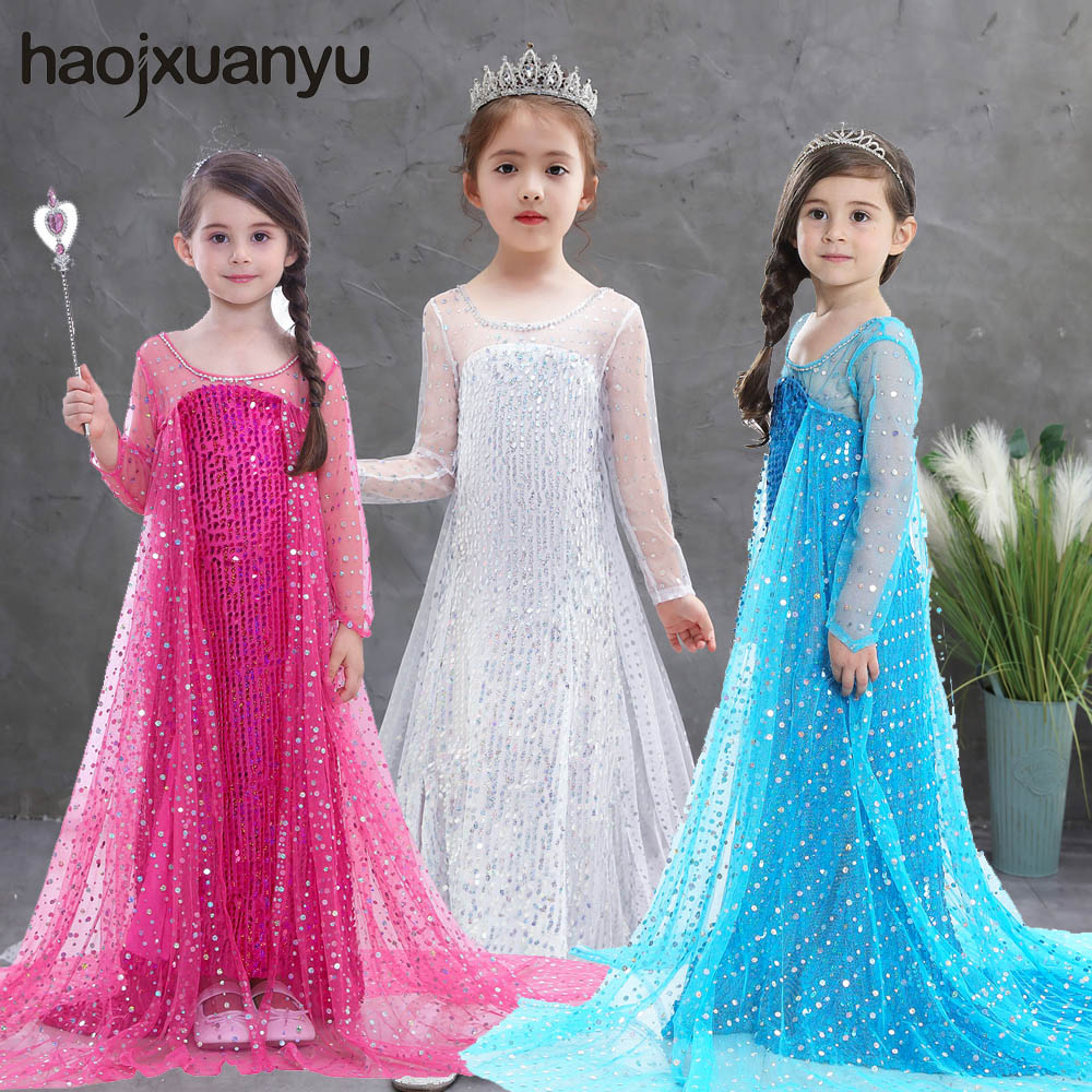 Cosplay Frozen 2 Fancy Princess Elsa Dress Up Christmas Carnival Girls White Elsa Costume Kids Sequins Cosplay Clothes