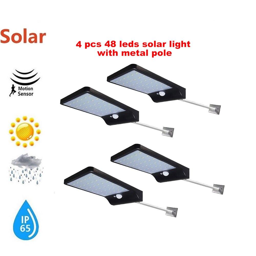 2/4pcs High Power Solar Wall Lamp PIR Motion Sensor LED Street Light Outdoor Waterproof Energy Saving Garden Yard Security Night