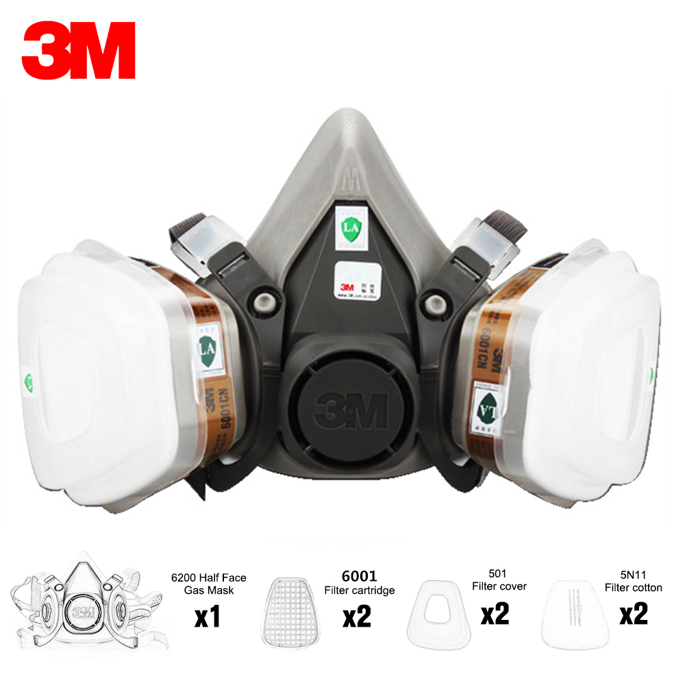 3M 6200 Anti-gas Dust Mask 7 In 1 Suit Half Face Painting Spraying Respirator Gas Mask Safety Work Filter Dust Mask