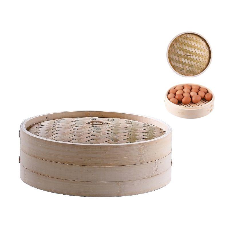 11 Inch Itchen Bamboo Steamer Basket Asian Food Steamer For Dim Sum Dumplings GXMA