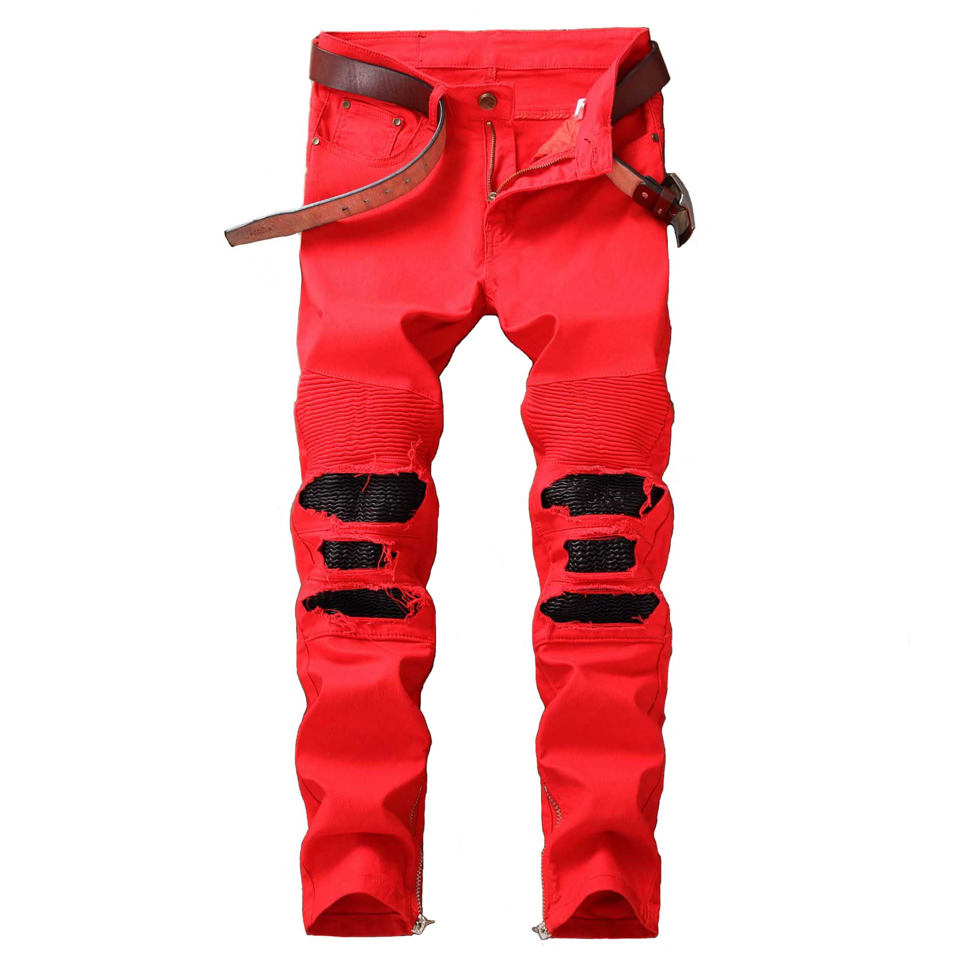 Mcikkny Men's Ripped Pleated Jean Pants Washed Patchwork Motorcycle Denim Trousers Fashion Designer Male Streetwear Pants