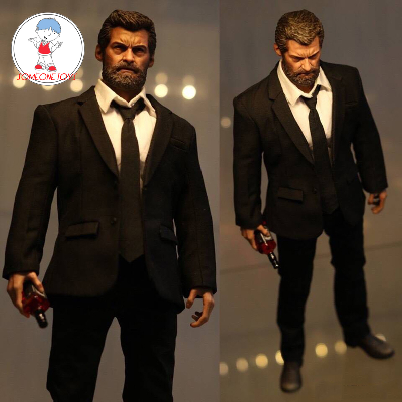 Eleven 1/6 Scale Hugh Jackman Wolverine Logan Head <font><b>Body</b></font> Clothes Western Suit for 12 Inches DIY Action Figures image