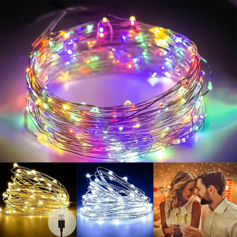 USB Plug In 100 LED DIY Micro Copper Wire String Lights Party Static Fairy Light Home Decoration