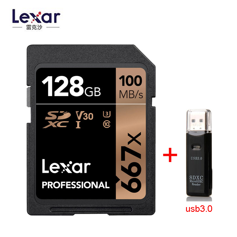2019 New Original Lexar Professional 667x SDXC UHS-I 64GB 128GB 256GB Cards Up To 100MB/s Read, 90MB/s Write High-speed Camera