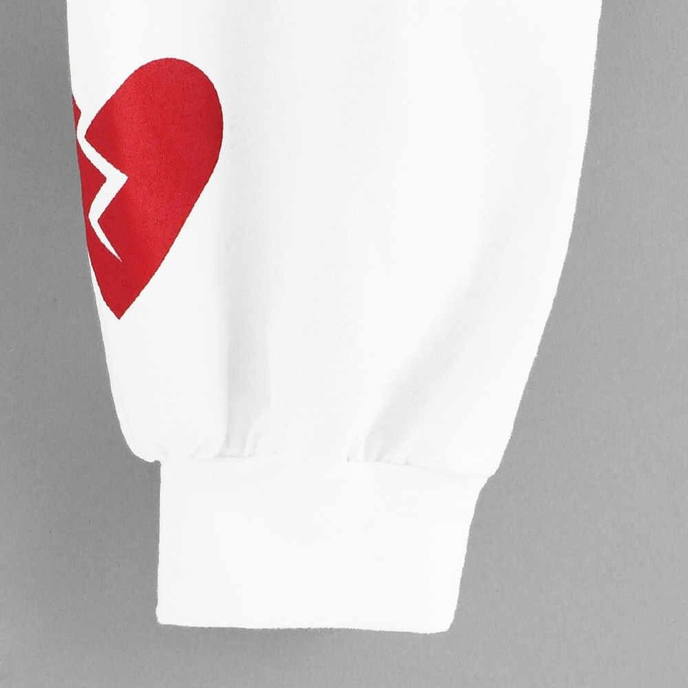 سويت شيرت نسائي بغطاء للرأس بأكمام طويلة ومطبوع على شكل قلب برقبة دائرية بلوفر Kpop Bts-Bangtan بلوفر سوداديرا موخير # L45