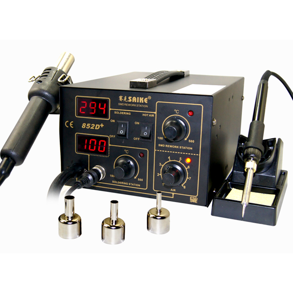 SAIKE 852D+ Iron Solder Soldering Hot Air Gun 2 In 1 Rework Station 220V 110V Desoldering Station Air Pump Air Gun