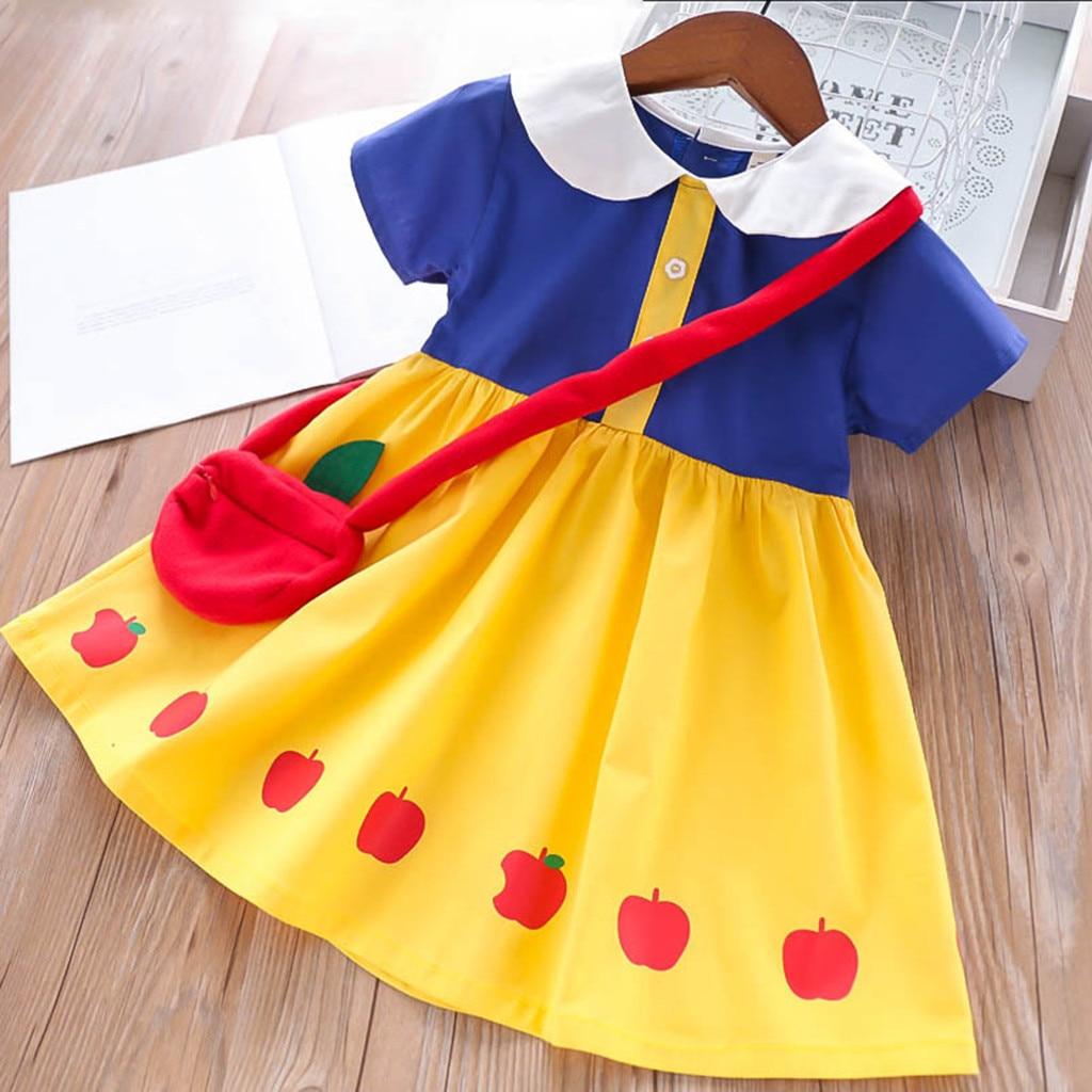Robe + sac pour filles   Ensemble de vêtements à manches courtes, imprimé de princesse blanche neige, robes d'été pour enfants