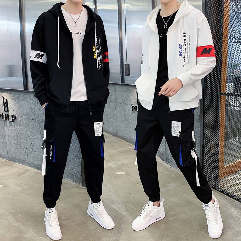New Men's Clothing Sportswear Autumn Hooded Sweatshirt Jacket+Pants Hip Hop Street Sporting Suit Two Piece Set For Men Tracksuit