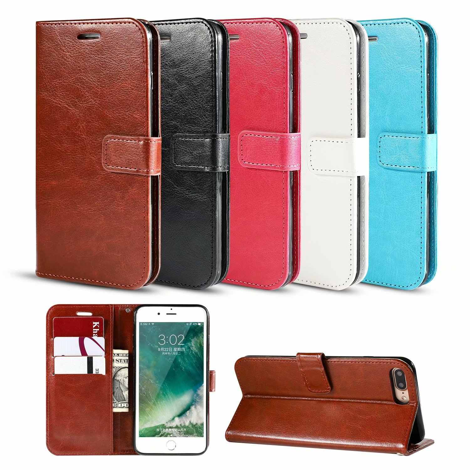 Anti-Klop Fashion Leather Flip Wallet Case Telefoon Cover Voor Iphone X Xs Max Xr 11 Pro 7 8 6 6S Plus 5S Se 2020 Beschermende Tassen