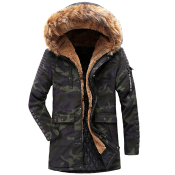 Winter Long Camouflage Coat Men Fur Collar Hooded Thick Warm Overcoat Men Winter Windbreaker Jacket Parka Fashion Clothes