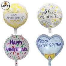10 pçs feliz aniversário balões da folha do aniversário do casamento tema do amor aniversário ar inflável globos memorial day party suprimentos