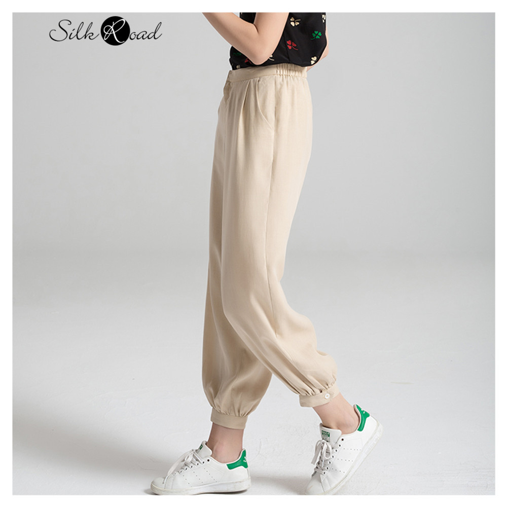 Silviye Women's Lanterns Summer 2020 New Large Loose Wide Leg Pants Pants Khaki High Waist Silk Radish Pants
