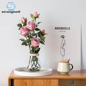 Strongwell Nordic Artificial Rose Silk Flowers Single 2 Head Fake Flower Wedding Bouquet Home Decoration Living Room Bedroom