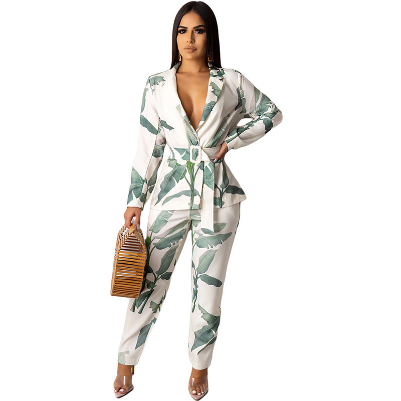 Women's Office Lady Two Piece Sets Work OL Business Elegant Notched Collar Blazer Top And Pant Suits Leaf Print 2 Piece Outfits
