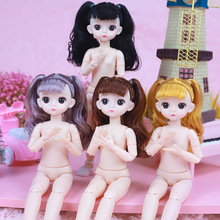Plastic Doll BJD Girl Fashion 22 30cm Toy Wig Movable Eyes 3D Female Long New