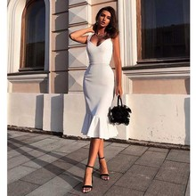 Wholesale 2020 woman's dress white Spaghetti Strap V-neck Se