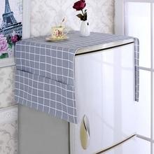 Refrigerator-Cover Washing-Machine-Cover Fridge Cloth Protection Plaid Dustproof Cotton