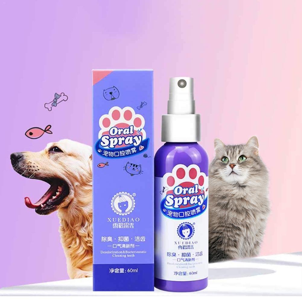 60ml pet boca purificadores anti bacteriano tratamento de pulverização oral fresco respiração cão e gato saudável dental cuidados spray escova creme dental|Acessórios para cães|   - AliExpress