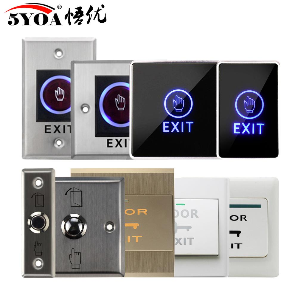 Door Exit Push Button Release Switch Opener NO COM NC LED Light For Door Access Control System Entry Open Touch