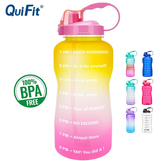 QuiFit 2L 3.8L Gallon Tritan Sports Water bottle with Straw Big Protein Shaker Drink Bottles Gourd Cup jug BPA Free Outdoor GYM