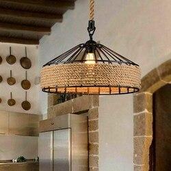 E27 liny konopne lampy wiszące lampa wisząca w stylu vintage lampa sufitowa  Retro antyczne przemysłowe regulowana lampa żyrandol żelaza candest w Wiszące lampki od Lampy i oświetlenie na