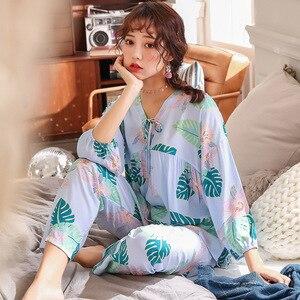 Image 3 - Lisacmvpnel 9 Phần Tay Bộ Đồ Ngủ Nữ Bộ Đồ Cotton Lụa V Dẫn Ngọt Pyjamas