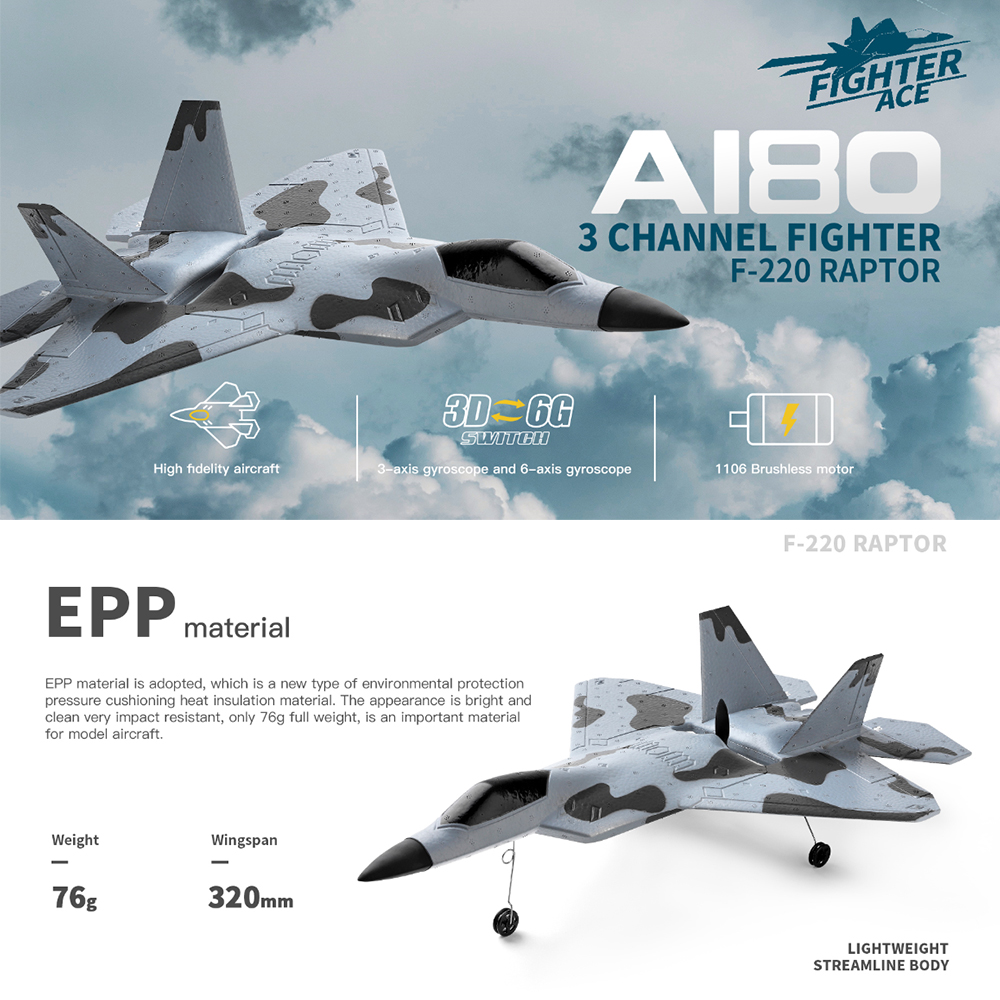 2020 New A180 EPP Glider Toy Brushless Motor 200M Remote Distance RC Drone 3 Channel 6 Axis Kids Gifts Smooth Flight