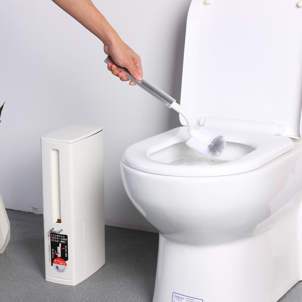 Plastic Bathroom Trash Can With Toilet Brush Waste Bin Dustbin Garbage Bucket Eco-friendly Bathroom Cleaning Tools
