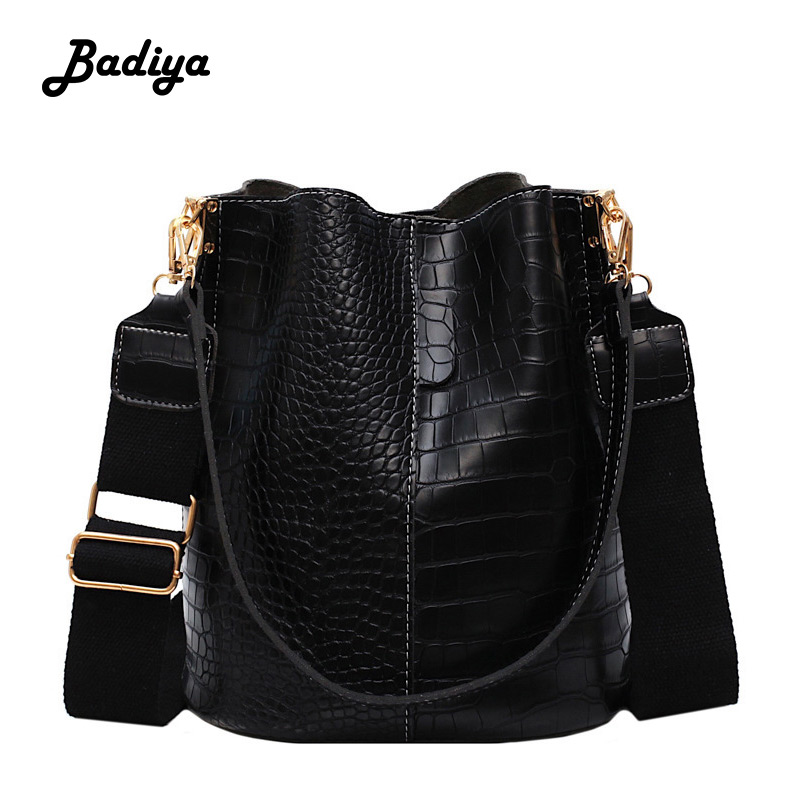 Fashion Bucket Handbag Women Casual Tote Messenger Bag Crocodile Pattern Crossbody Bag Large Capacity Retro Shoulder Bags Female