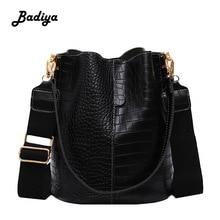 Fashion Bucket Handbag Women Casual Tote Messenger Bag Crocodile Pattern Crossbody Bag Large Capacity Retro Shoulder Bags Female