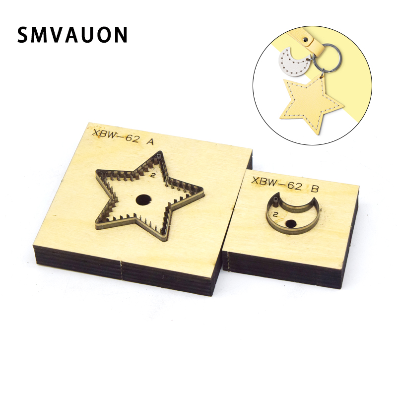 SMVAUON Japanese Steel Cutting Die Star Moon Key Ring DIY Key Case Fun Pendant Leather Cutter Mold Knife Mould Hand Punch Tool