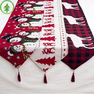 Image 1 - Kerst tafel decoratie elanden sneeuw print tafelkleed cover vlag tafelkleed kerstboom doek thee tafel decoratie