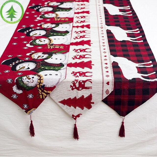 Kerst tafel decoratie elanden sneeuw print tafelkleed cover vlag tafelkleed kerstboom doek thee tafel decoratie