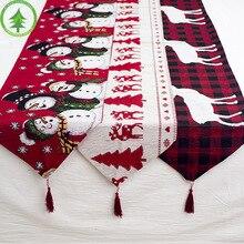 Weihnachten tisch dekoration elch schnee print tisch tuch abdeckung flagge tischdecke Weihnachten baum tuch tee tisch dekoration